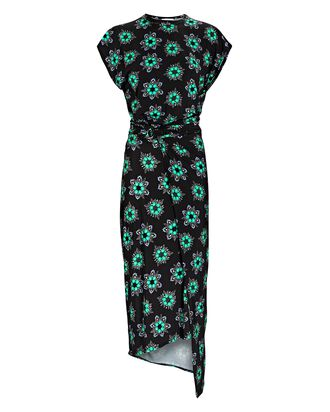 Asymmetrical Floral Printed Jersey Dress, BLACK/GREEN, hi-res
