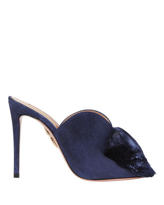 Lotus Blossom Tassel Mule Sandals, NAVY, hi-res