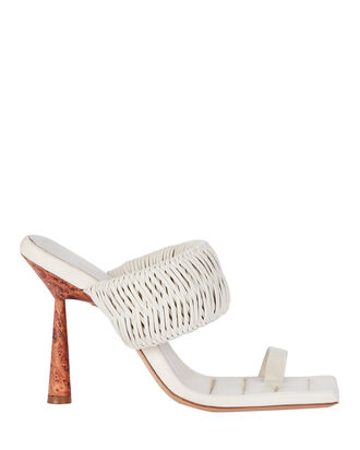 x RHW 1 Toe-Ring Leather Sandals, WHITE, hi-res