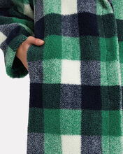 Maria Checked Faux Shearling Coat, BLUE/GREEN CHECK, hi-res