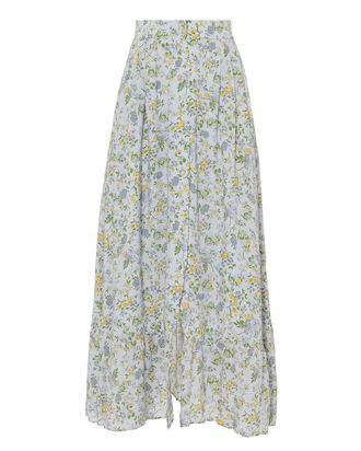 Button Front Midi Floral Skirt, MULTI, hi-res