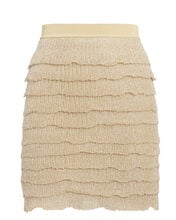 Gold Tiered Knit Mini Skirt, GOLD, hi-res