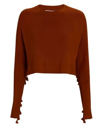 Hannah Fringe Cropped Sweater, BROWN, hi-res