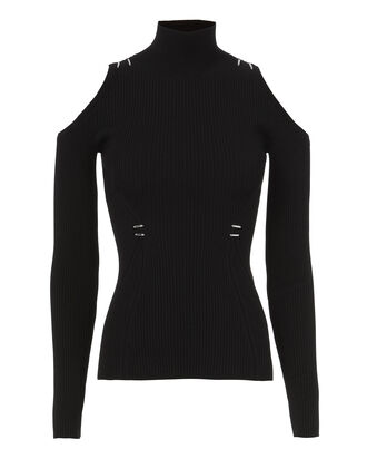 Embellished Cold Shoulder Turtleneck, BLACK, hi-res
