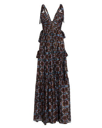 Lirra Printed Sleeveless Silk Gown, BLACK/BURGUNDY/BLUE, hi-res