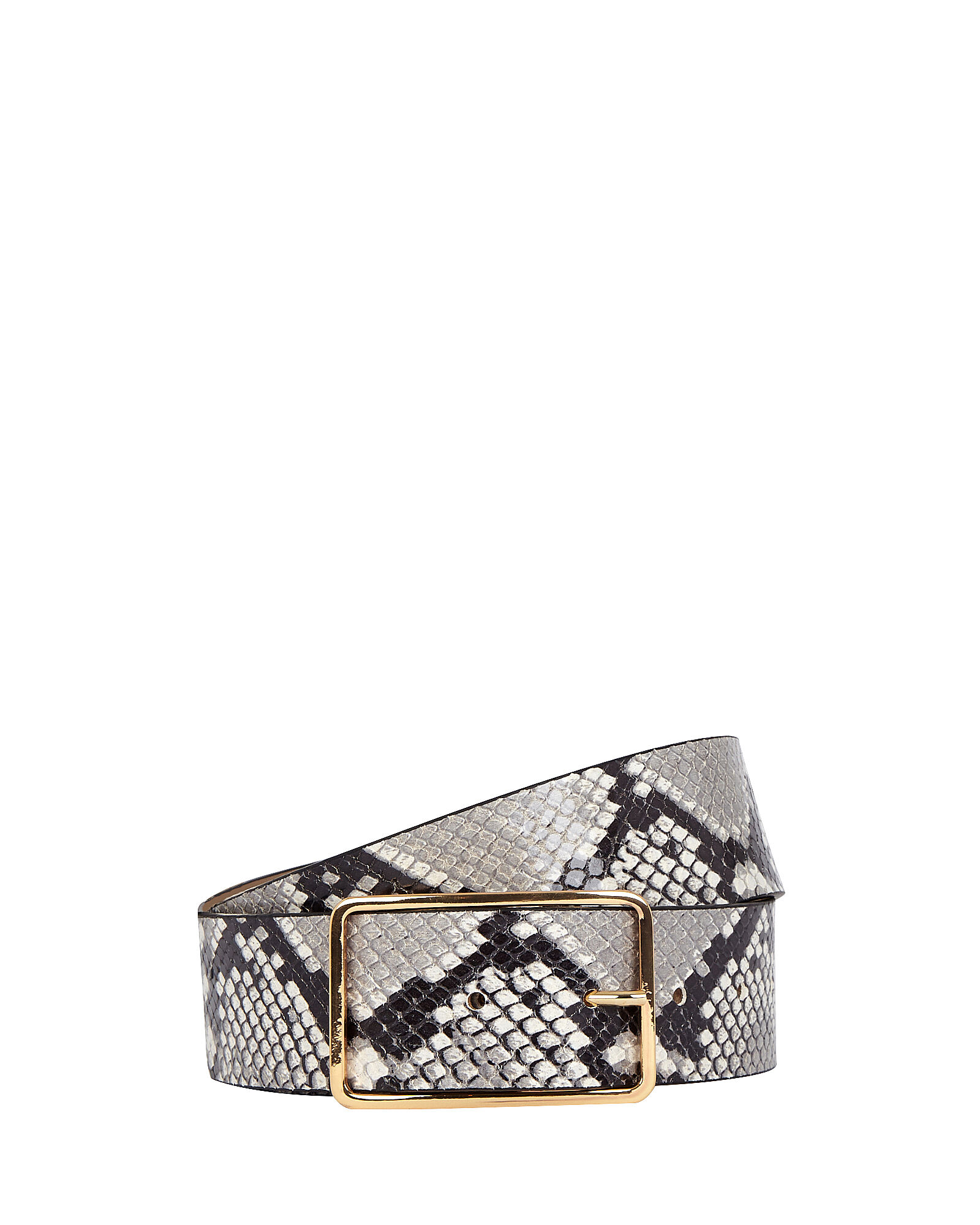 Milla Python Printed Leather Belt, WHITE, hi-res