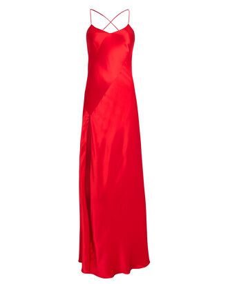 Bias Cut Silk Charmeuse Gown, RED, hi-res