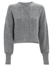 Joki Aran Knit Cardigan, GREY, hi-res