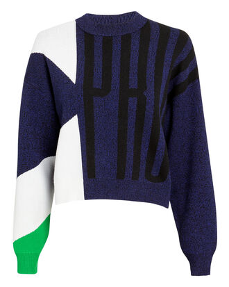 Logo Crewneck Sweater, BLUE/BLACK/WHITE/GREEN, hi-res