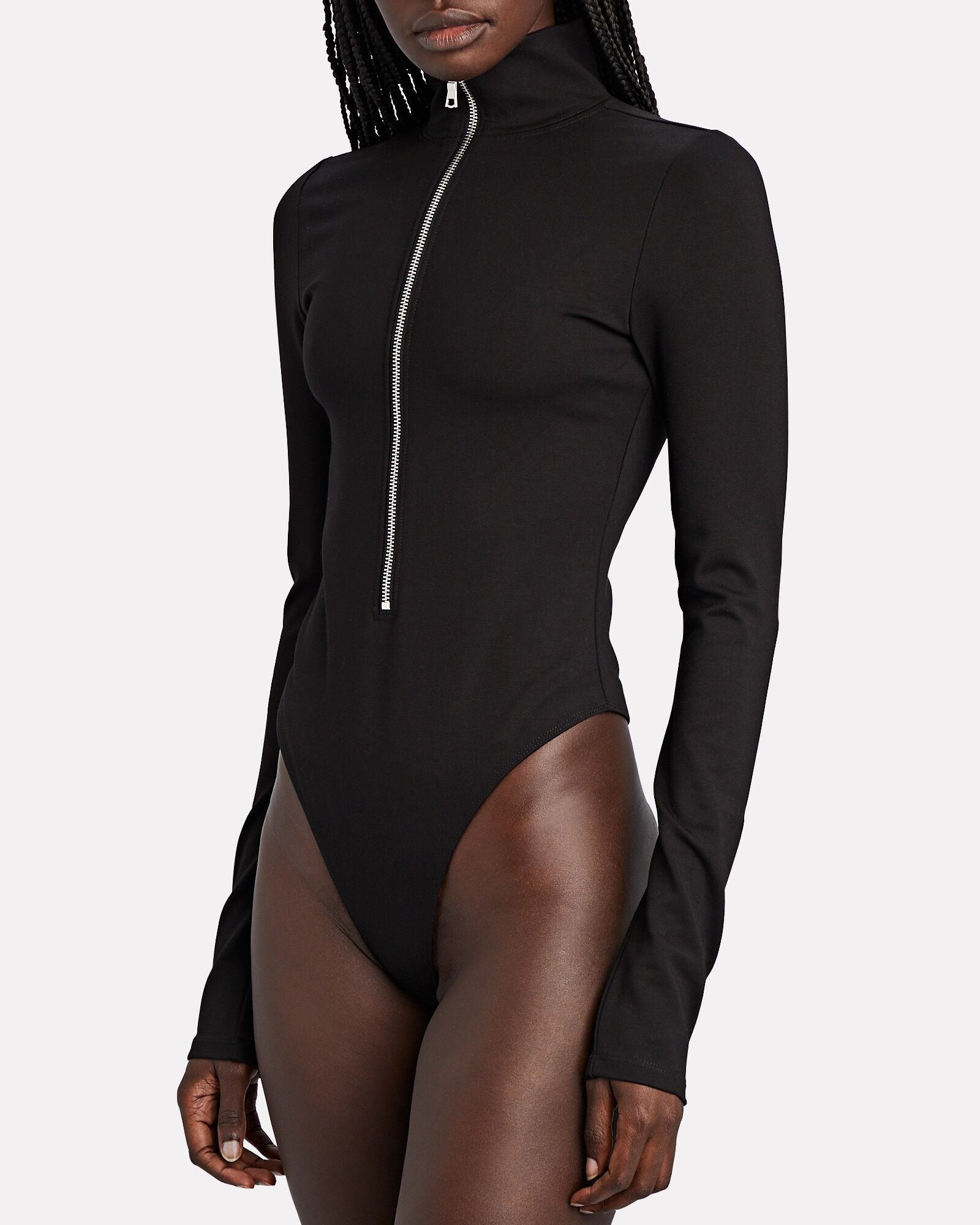 Zip Front High Neck Bodysuit, , hi-res