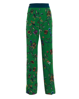 Silk Floral Track Pants, GREEN FLORAL, hi-res