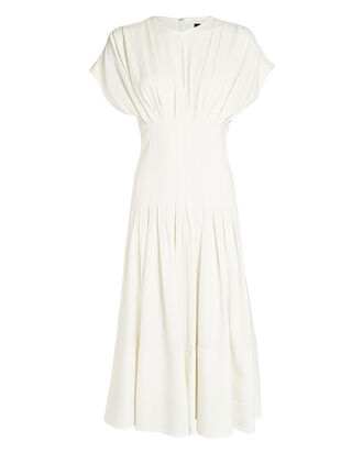 Textured Crepe Fitted Waist Dress, IVORY, hi-res