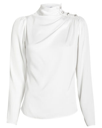 Charity Embellished Silk Blouse, IVORY, hi-res