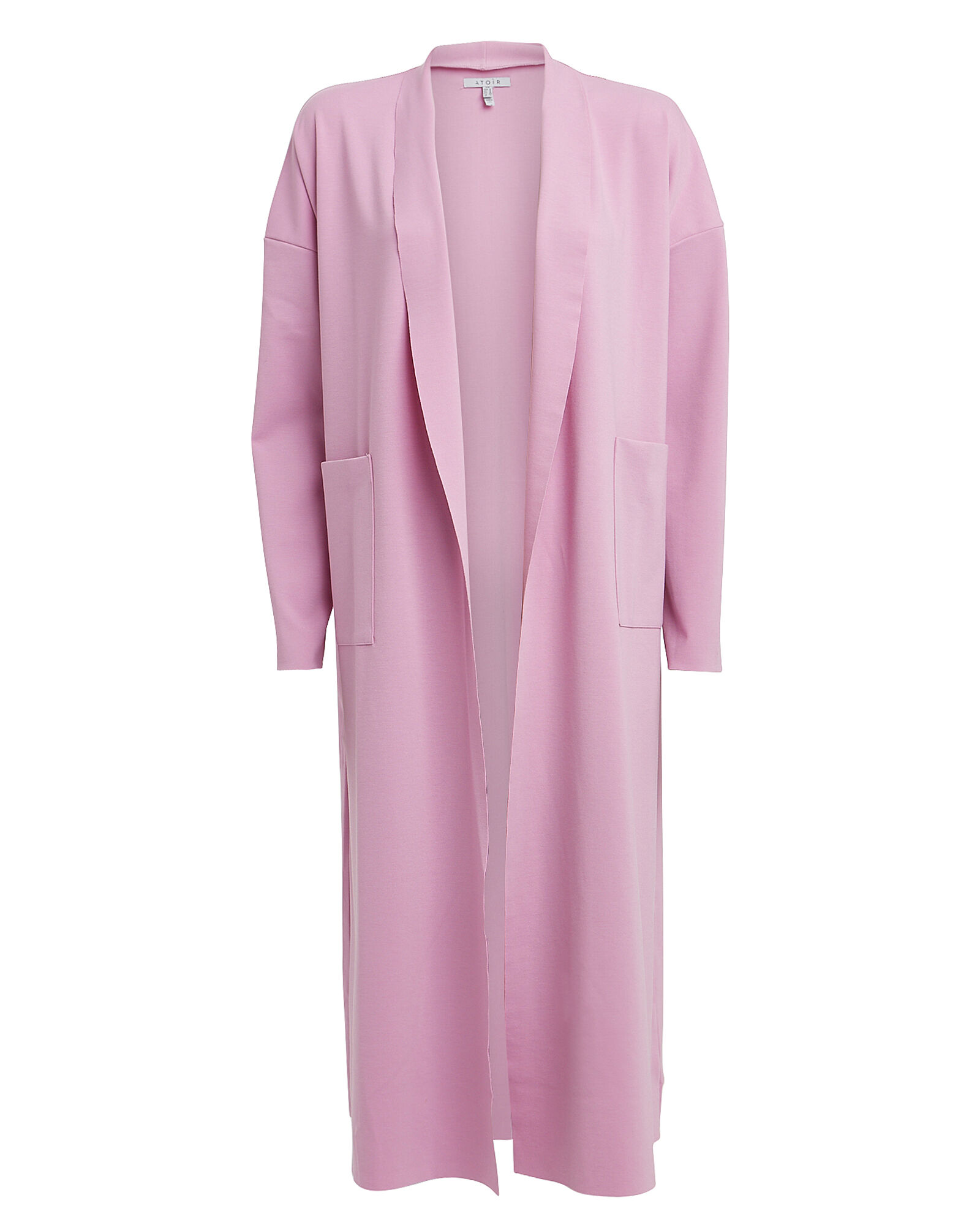Satin Open Front Overcoat, PINK, hi-res
