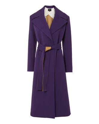 Belted Purple Trench Coat, PURPLE-DRK, hi-res