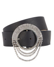 Lilia Crystal Buckle Leather Belt, BLACK, hi-res
