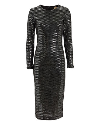 Lang Metallic Midi Dress, SILVER, hi-res