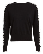 Ring Laced Crewneck Sweater, BLACK, hi-res