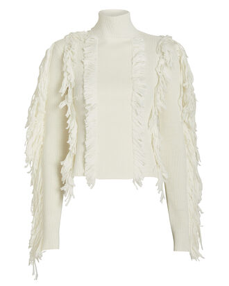 Fringe Chunky Knit Sweater, IVORY, hi-res