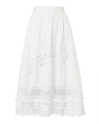 Baleine Lace Midi Skirt, WHITE, hi-res