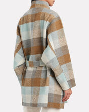 Anaya Plaid Coat, BLUE/TAUPE, hi-res