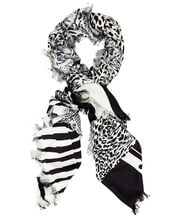 White Leopard Mixed Print Scarf, BLK/WHT, hi-res