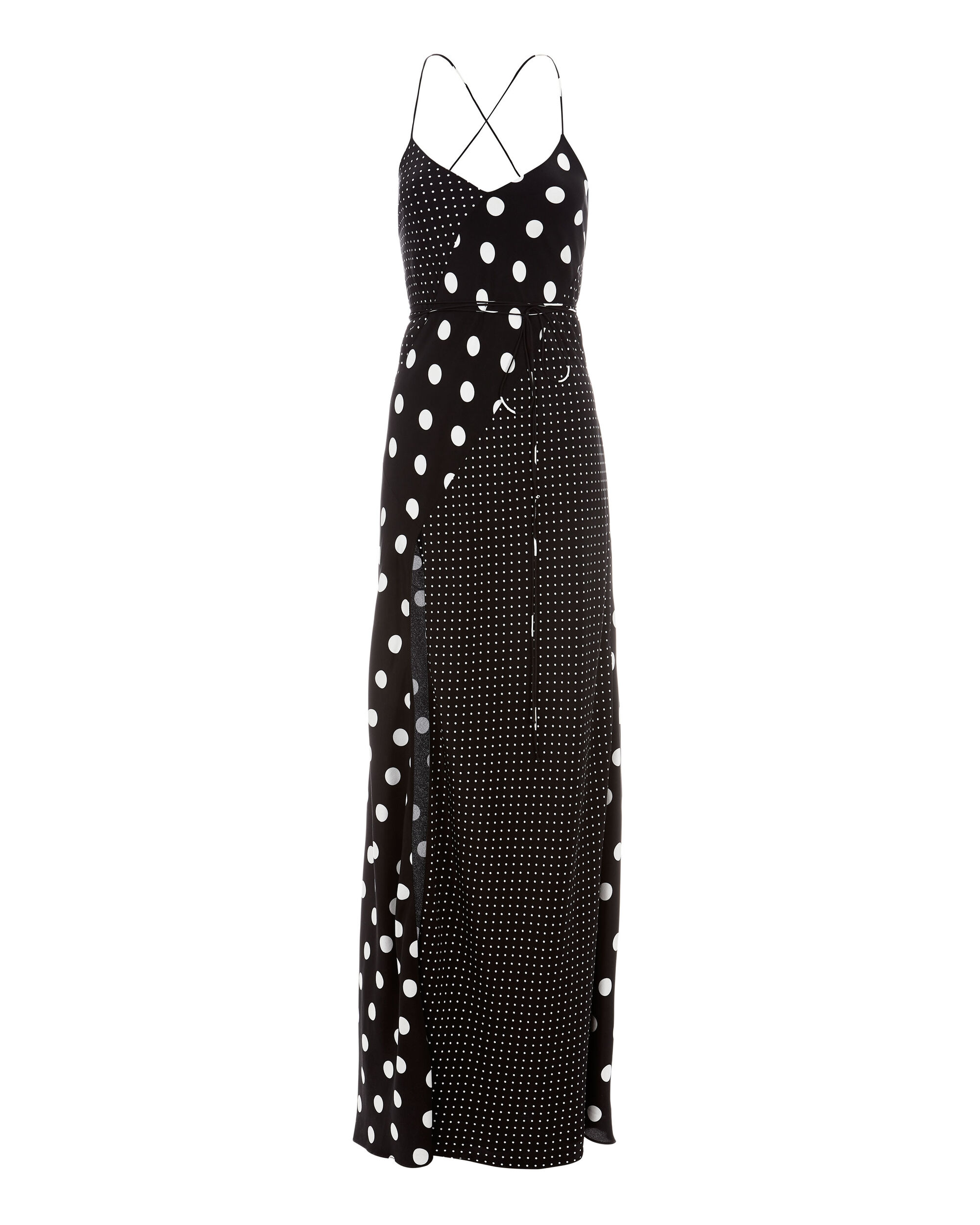 Dotted Slit Front Silk Gown, PRINT, hi-res