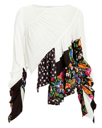 Ruffle Layer Patchwork Blouse, MULTI, hi-res