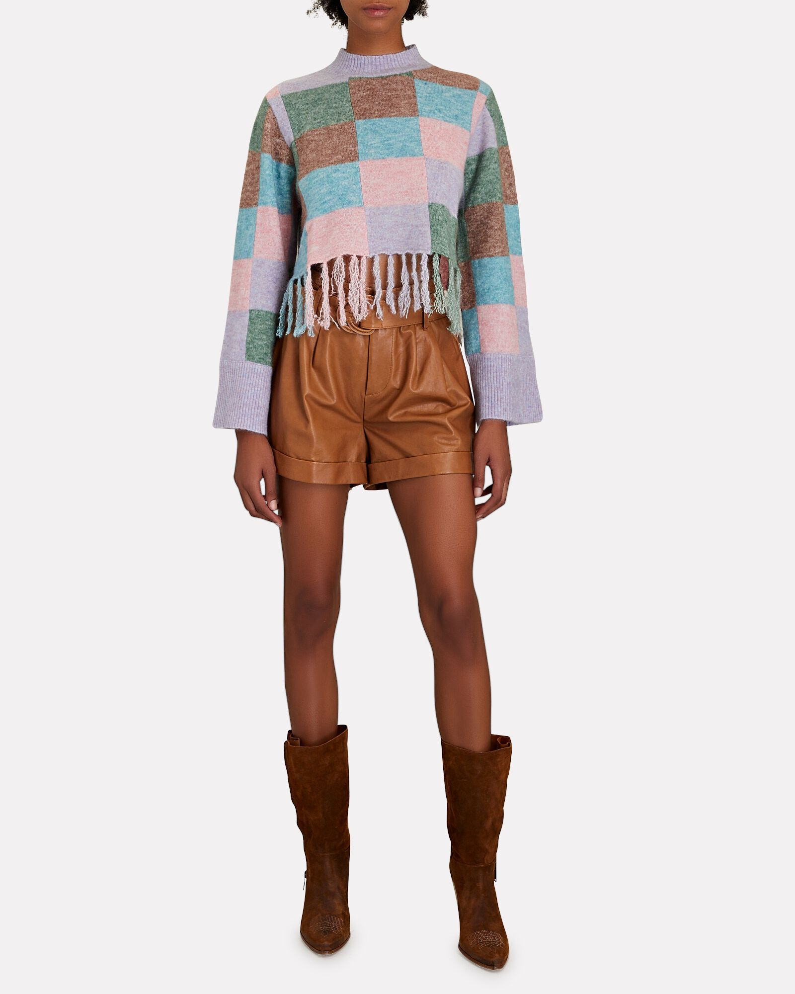 Fringed Wool-Blend Patchwork Sweater, MULTI, hi-res