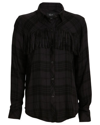 Dolly Fringed Plaid Button-Down Shirt, BLACK/CHARCOAL, hi-res