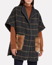 Toscana-Trimmed Wool Poncho, CHARCOAL, hi-res