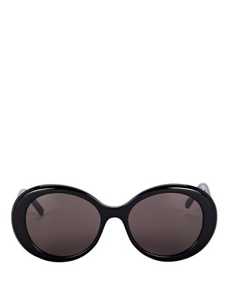 Oversized Oval Sunglasses, BLACK, hi-res