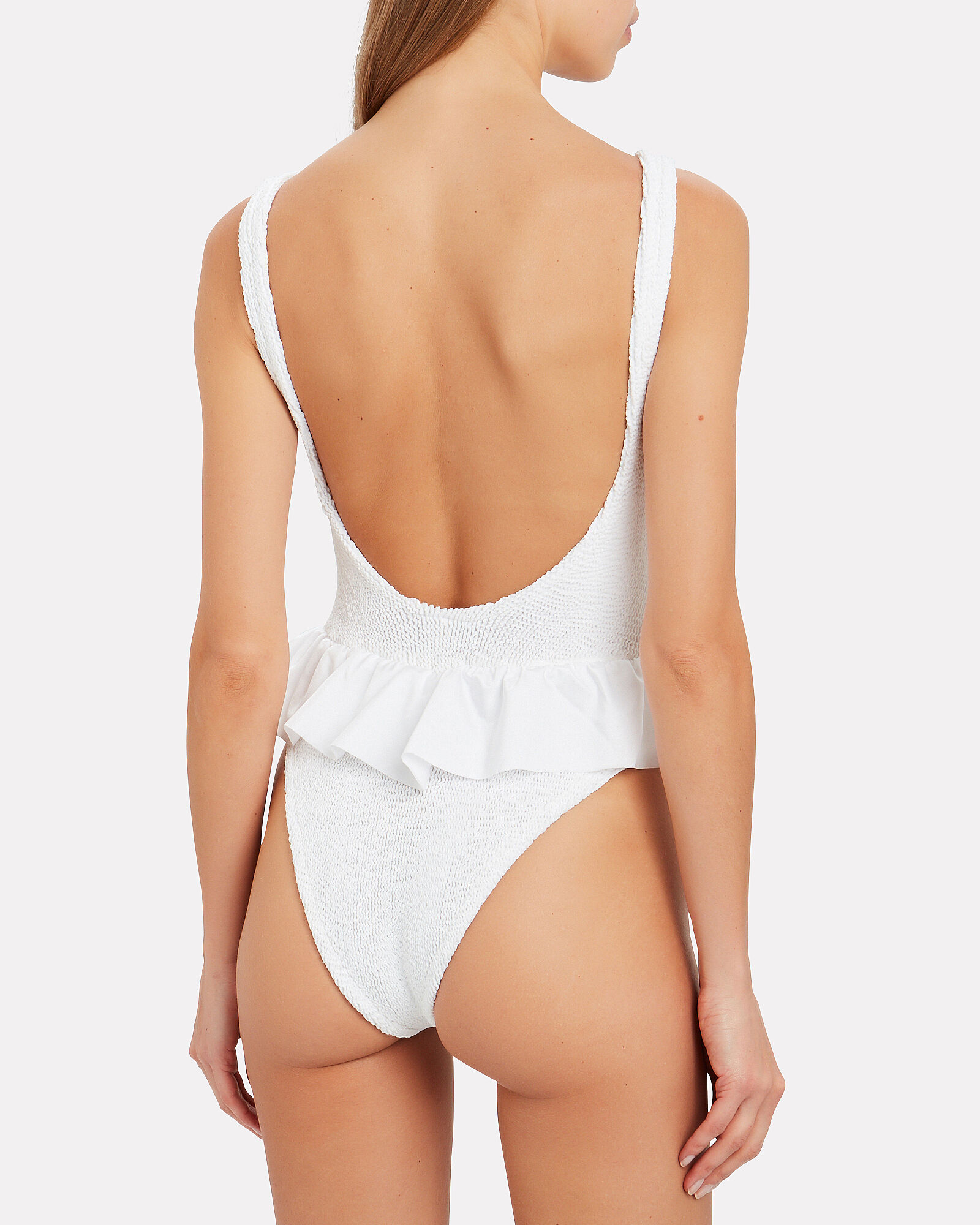 Denise Frill One-Piece Swimsuit, WHITE, hi-res