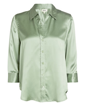 Dani Silk Button-Down Shirt, OLIVE/ARMY, hi-res