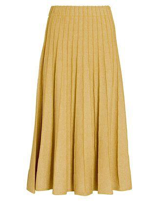 Yuma Pleated Knit Midi Skirt, GOLD, hi-res