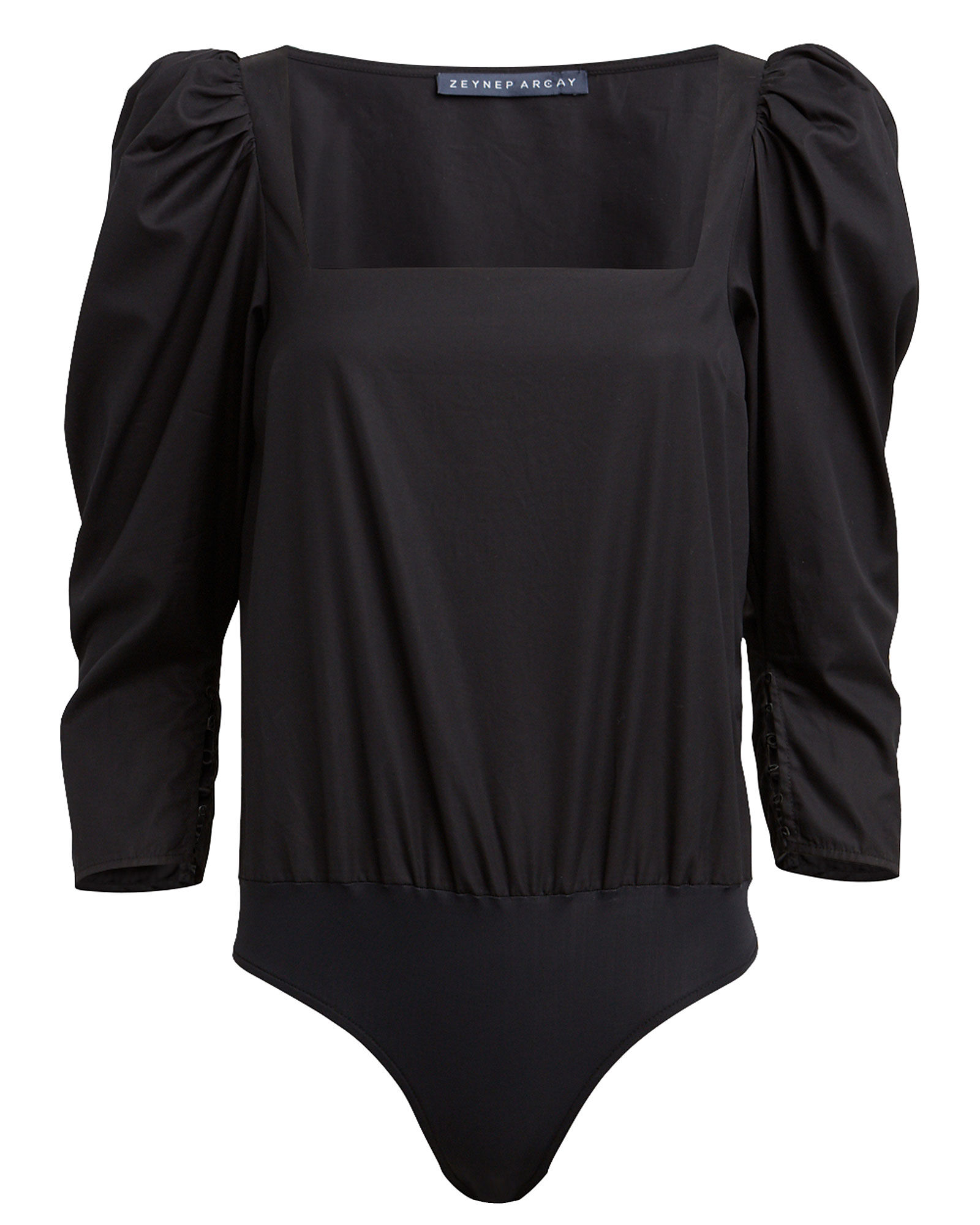 Cotton Poplin Puff Sleeve Bodysuit, BLACK, hi-res