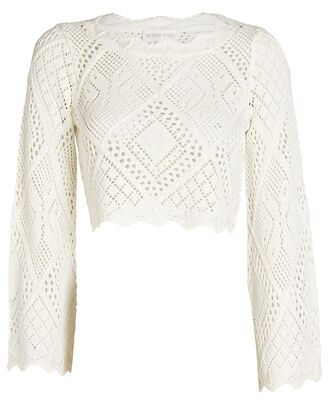Gallia Crochet Knit Terry Top, WHITE, hi-res