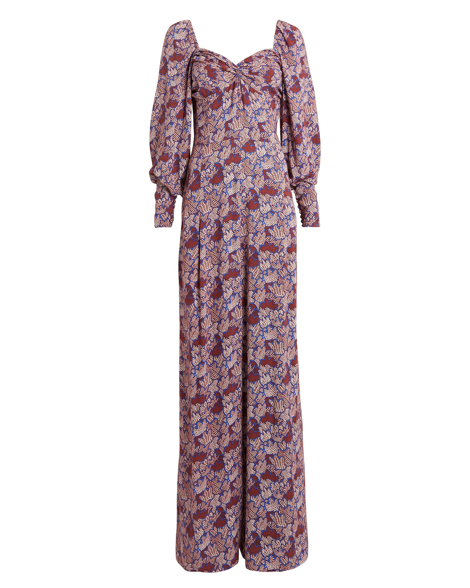 Claire Floral Puff Sleeve Jumpsuit, MULTI, hi-res