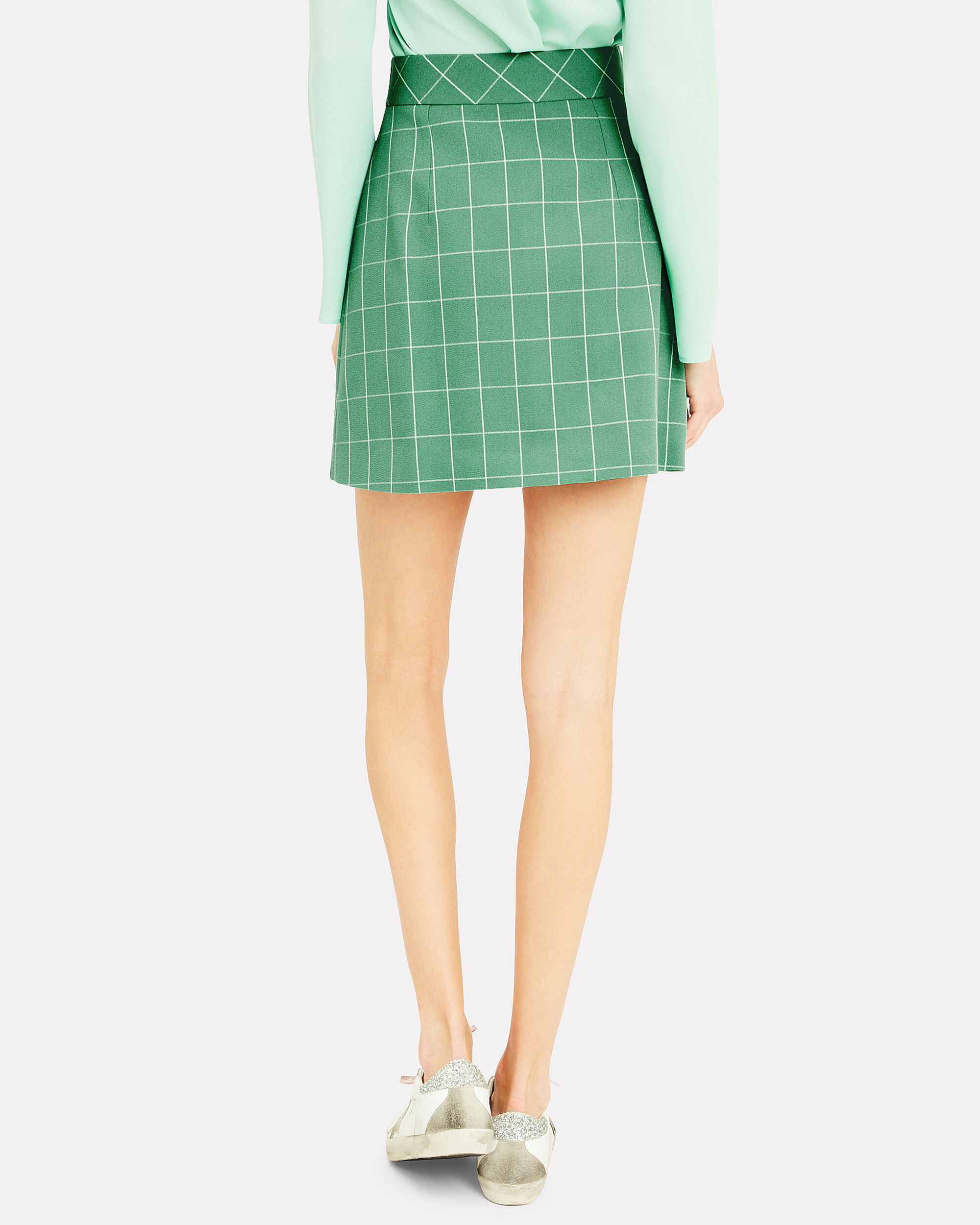 Green Wide Check Mini Skirt, GREEN/WHITE, hi-res