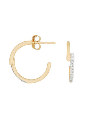 Pavé Crossover Hoops, GOLD, hi-res