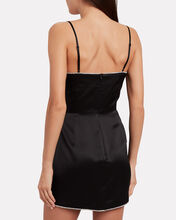 Crystal-Embellished Satin Mini Dress, BLACK, hi-res