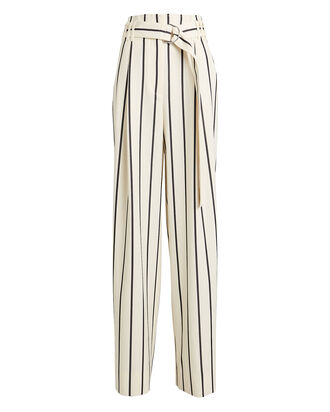 Belted Wide Leg Striped Pants, ECRU/BLACK, hi-res