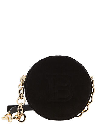 Disco Mini Circle Velvet Bag, BLACK, hi-res