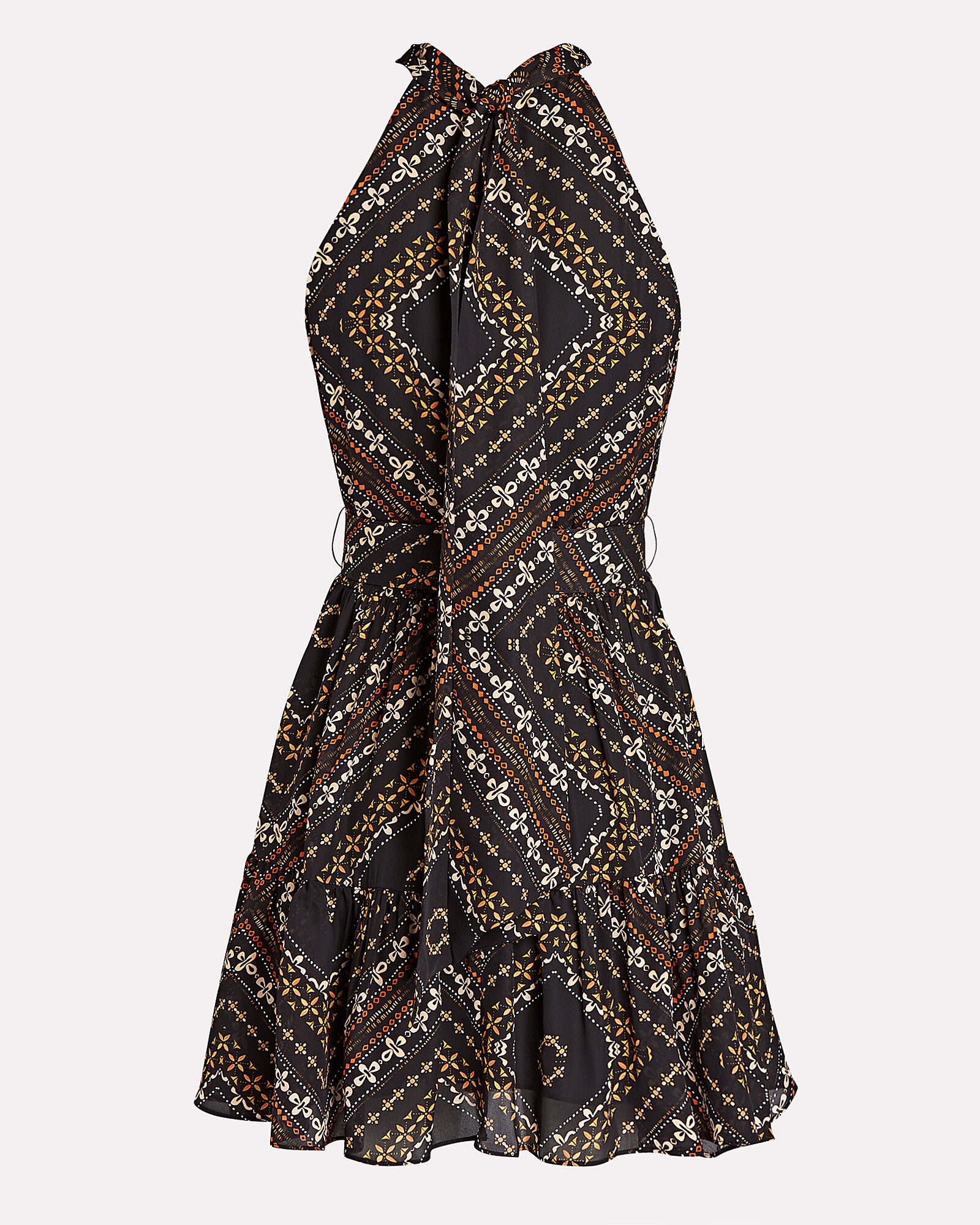 Selima Printed Silk Dress, BROWN, hi-res