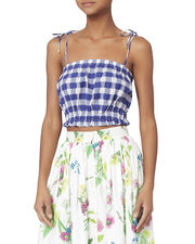 Checkered Cropped Cami, NAVY, hi-res
