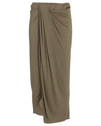 Draped Jersey Midi Skirt, OLIVE, hi-res