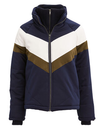 Inca Puffer Jacket, NAVY/WHITE/BROWN, hi-res