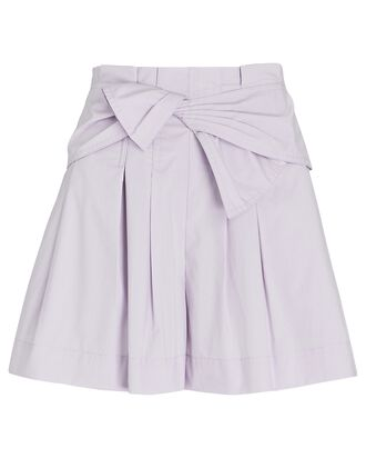 Paloma Tie-Waist Poplin Shorts, LIGHT PURPLE, hi-res