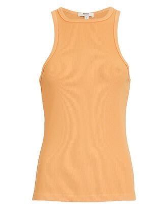 High Neck Rib Knit Tank Top, PALE ORANGE, hi-res