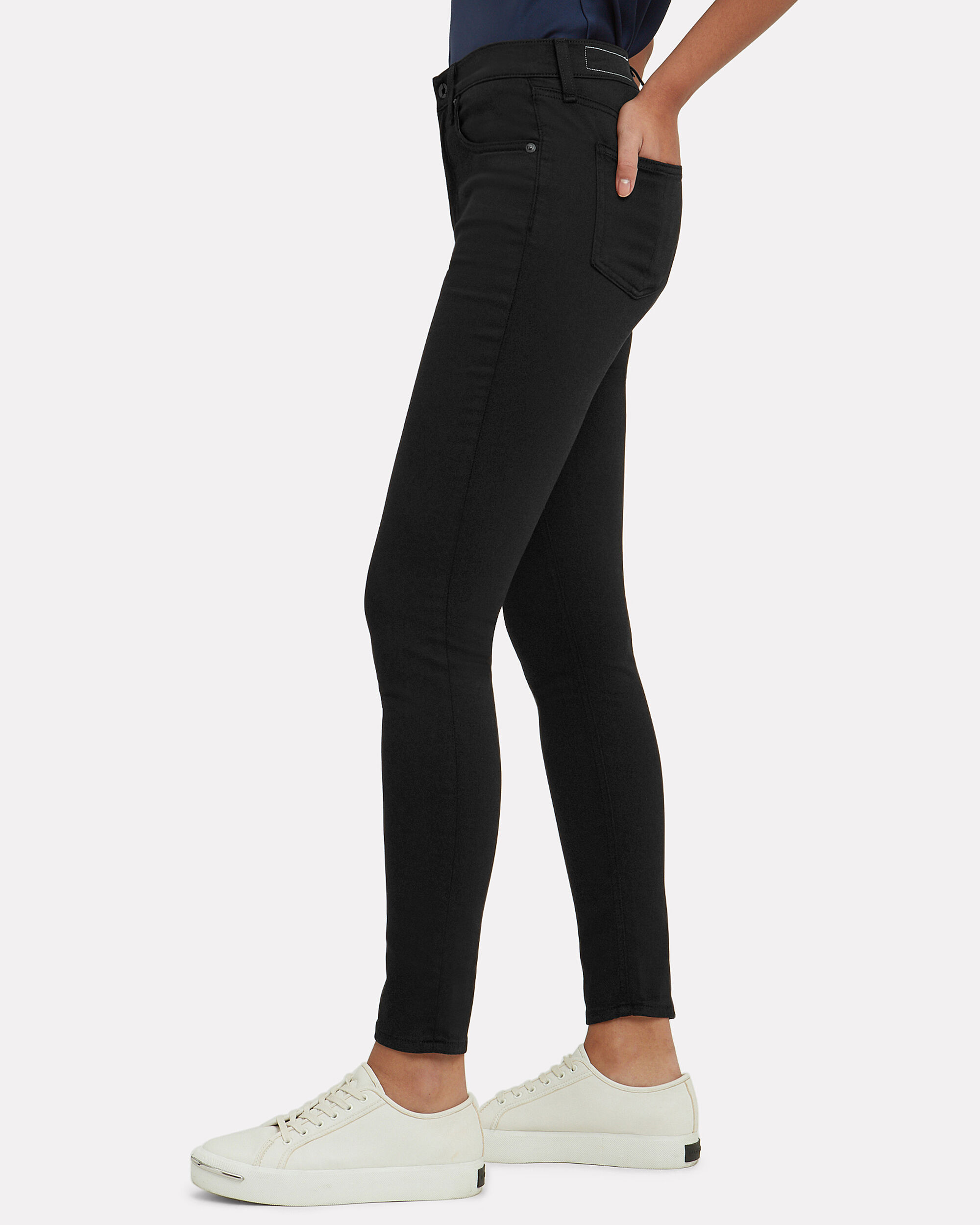 Plush Black High-Rise Skinny Jeans, BLACK, hi-res